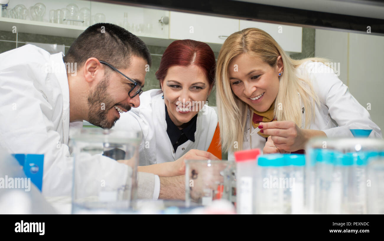 group of scientists working at the laboratory Stock Photo