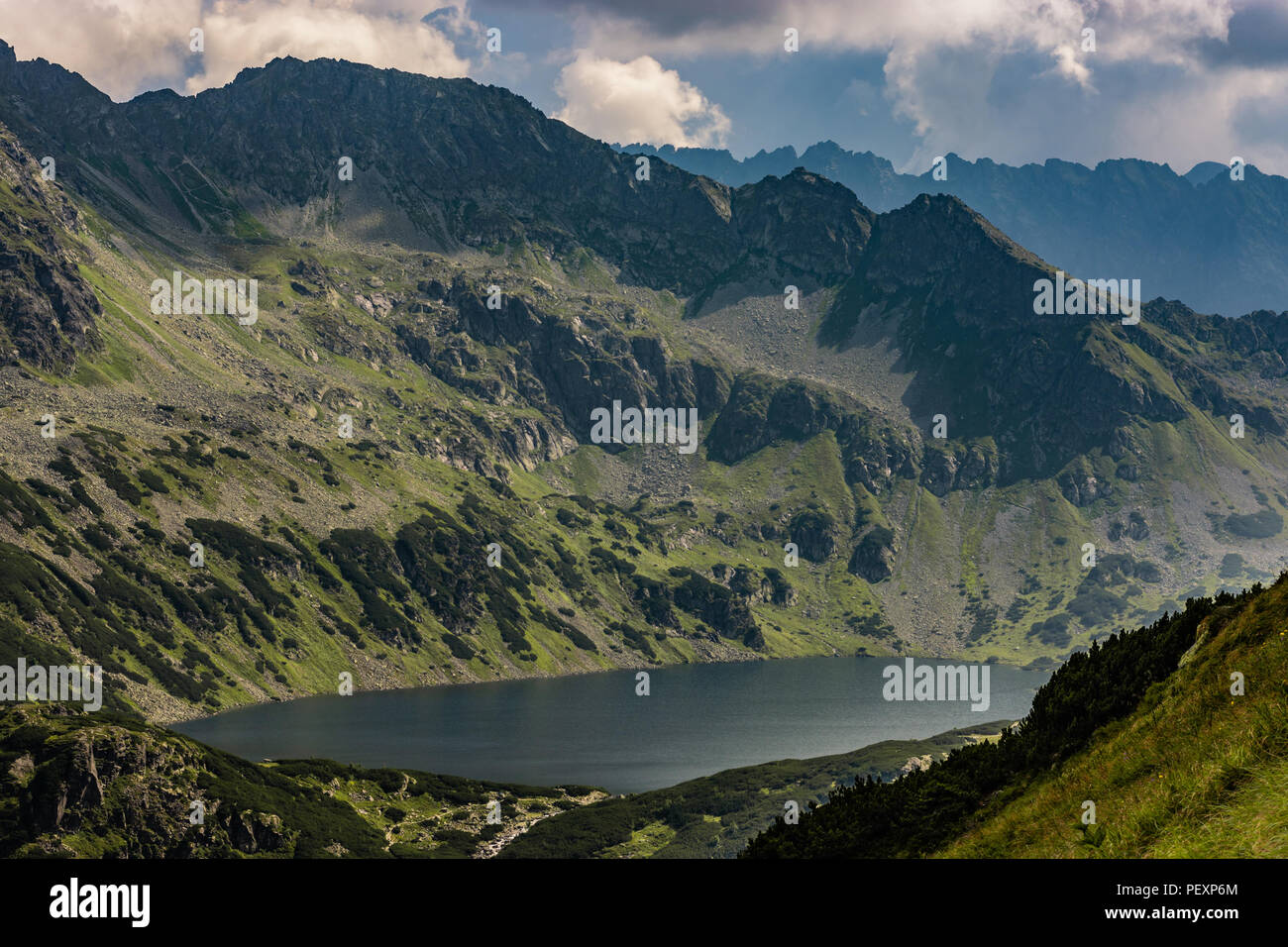 Great Polish Pond in Tatra Mountains, Lake in the Valley of the Five Polish Lakes Stock Photo