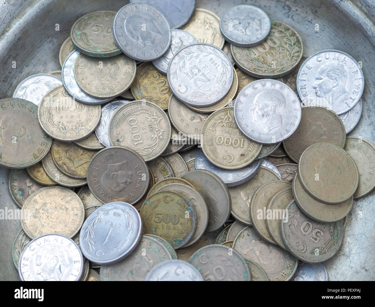 old turkish coins in the metal plate Stock Photo