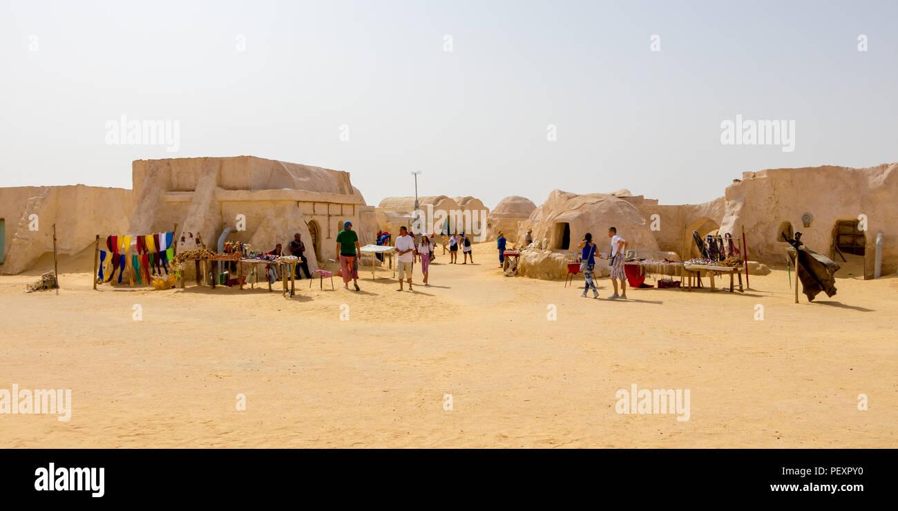 People are visting Star Wars houses in the desert of Sahara near Naftah, Tunisia - Stock Image