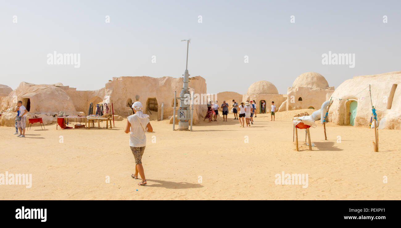 Tourist and old Star Wars set in the Sahara desert near city Tozeur, Tunisia, Africa - Stock Image