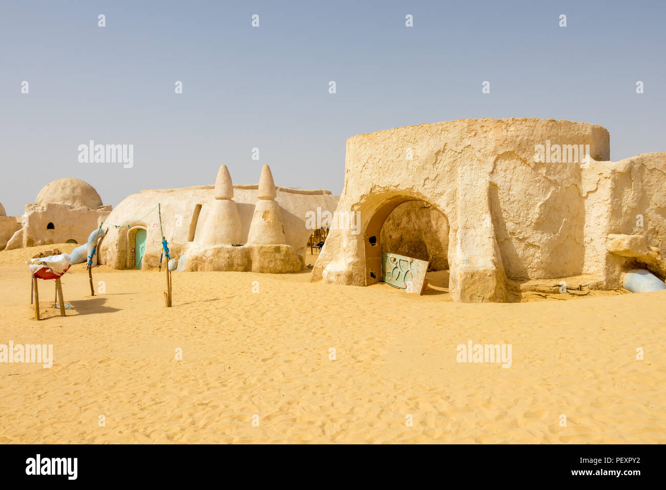 Star Wars location in Tunisia movie set 1977, Tozeur Sahara, Africa - Stock Image