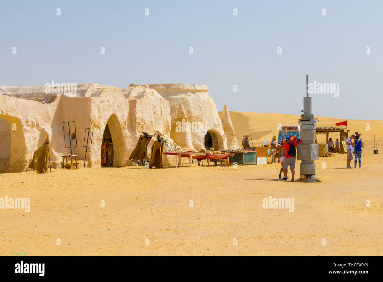 People and the fake costumes of Darth Vader from star wars, Tunisia, Africa - Stock Image