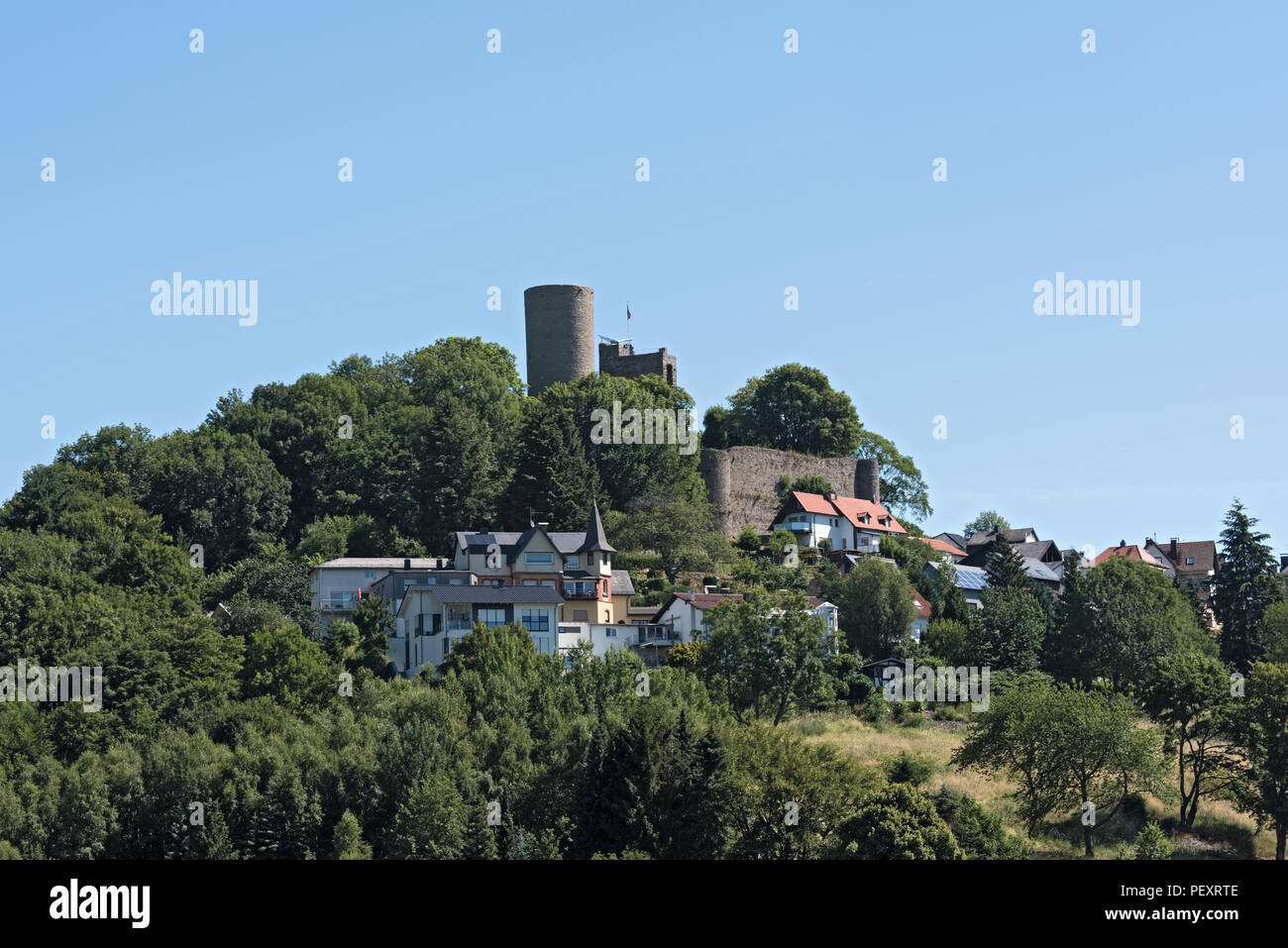 View of the village and the castle ruins Oberreifenberg im Taunus, Germany. Stock Photo