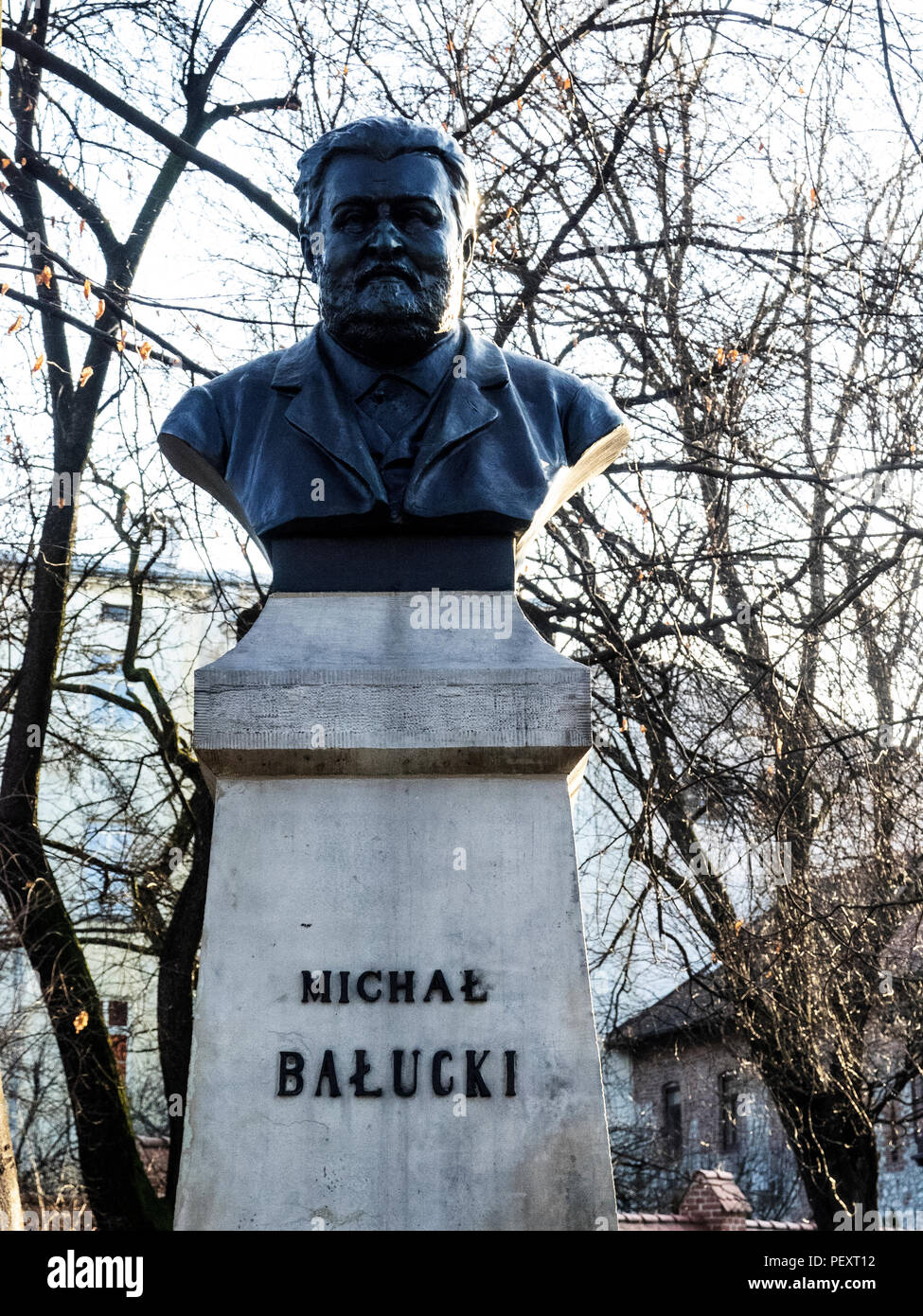 KRAKOW, POLAND - March 22, 2018: Monument of Mihal Balucki. Mihal Balucki was a Polish playwright and poet Stock Photo