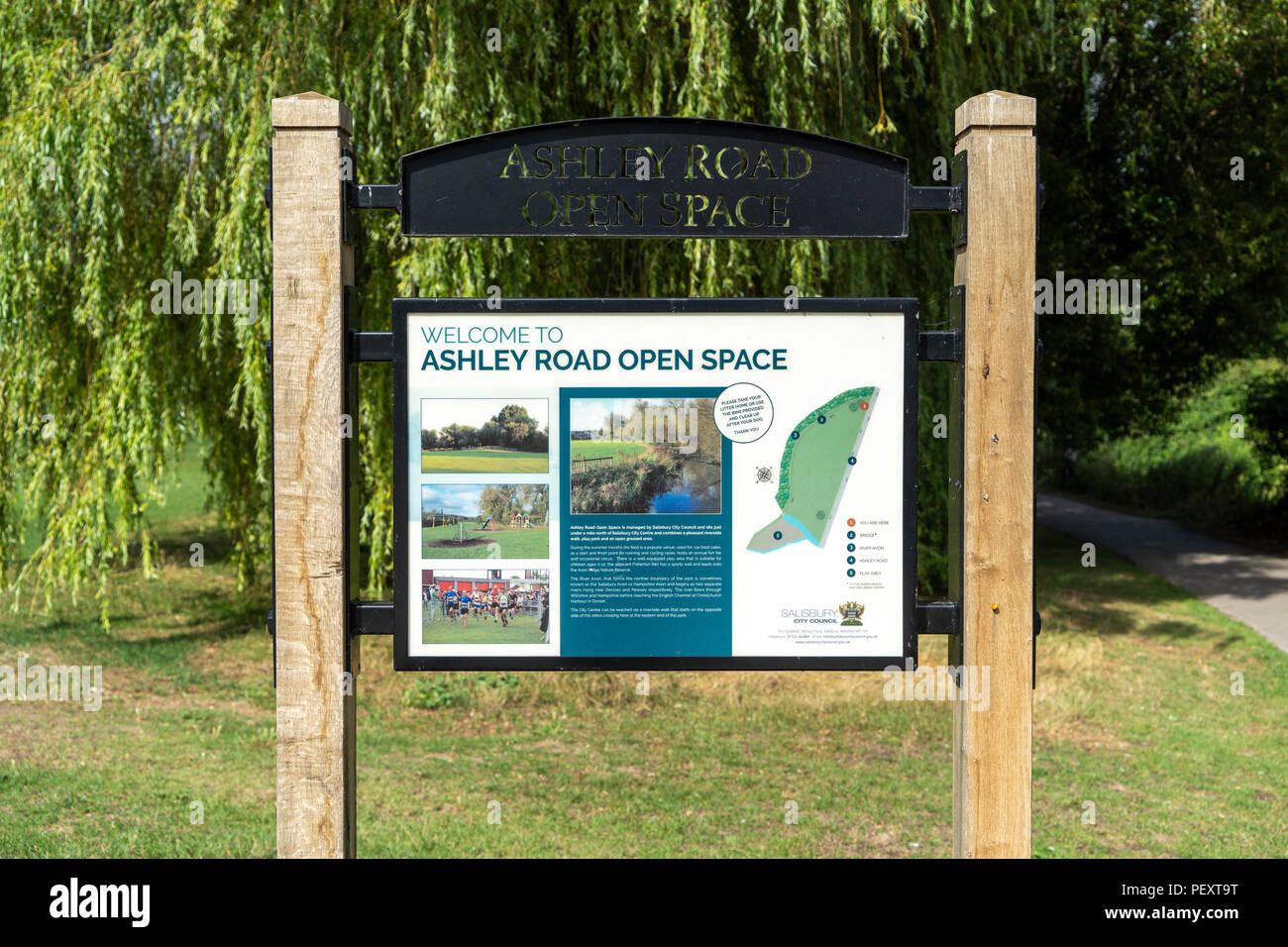 Ashley Road open space sign in Salisbury Wiltshire UK - Stock Image