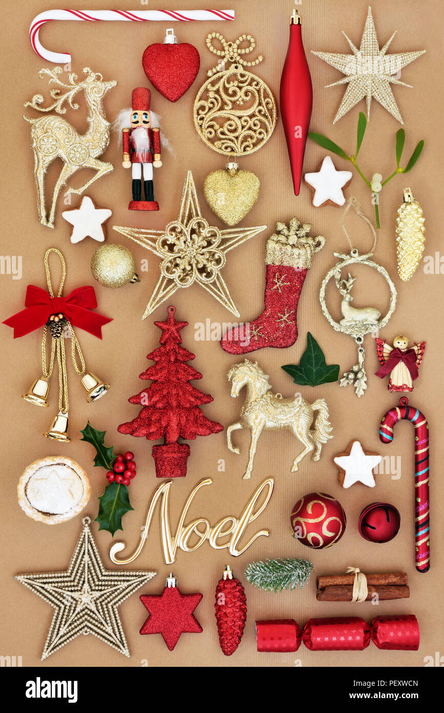Christmas Noel Sign With Retro Bauble Tree Decorations And Ornaments