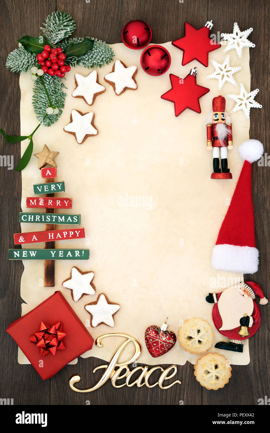Christmas Party Invitation Or Blank Letter To Santa Claus Concept