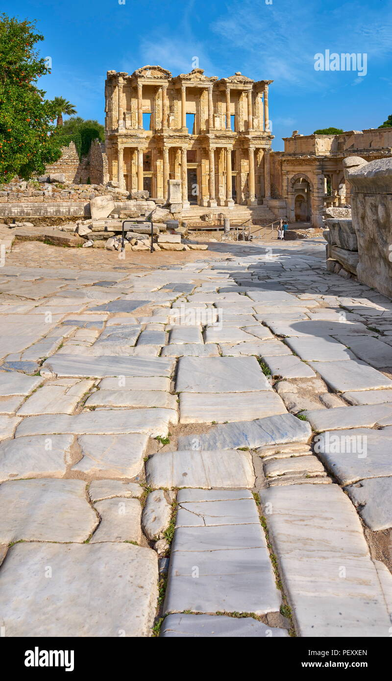 Library of Celsus in Ephesus Ancient City, Izmir, Turkey - Stock Image