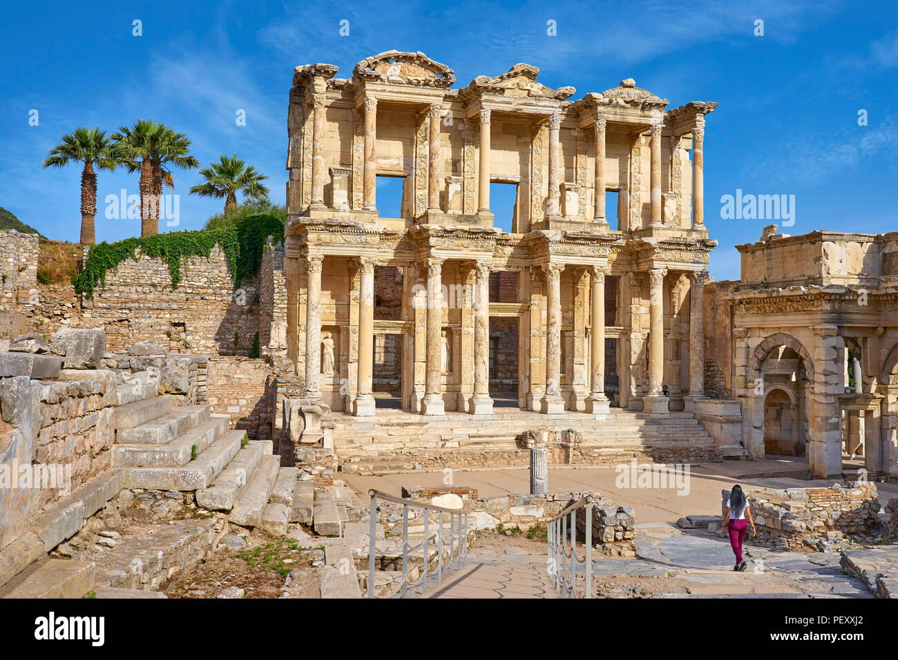 Efes - Library of Celsus in Ephesus Ancient City, Izmir, Turkey - Stock Image