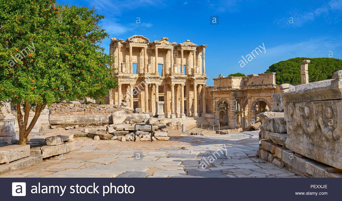 Ephesus - Library of Celsus, Izmir, Turkey - Stock Image