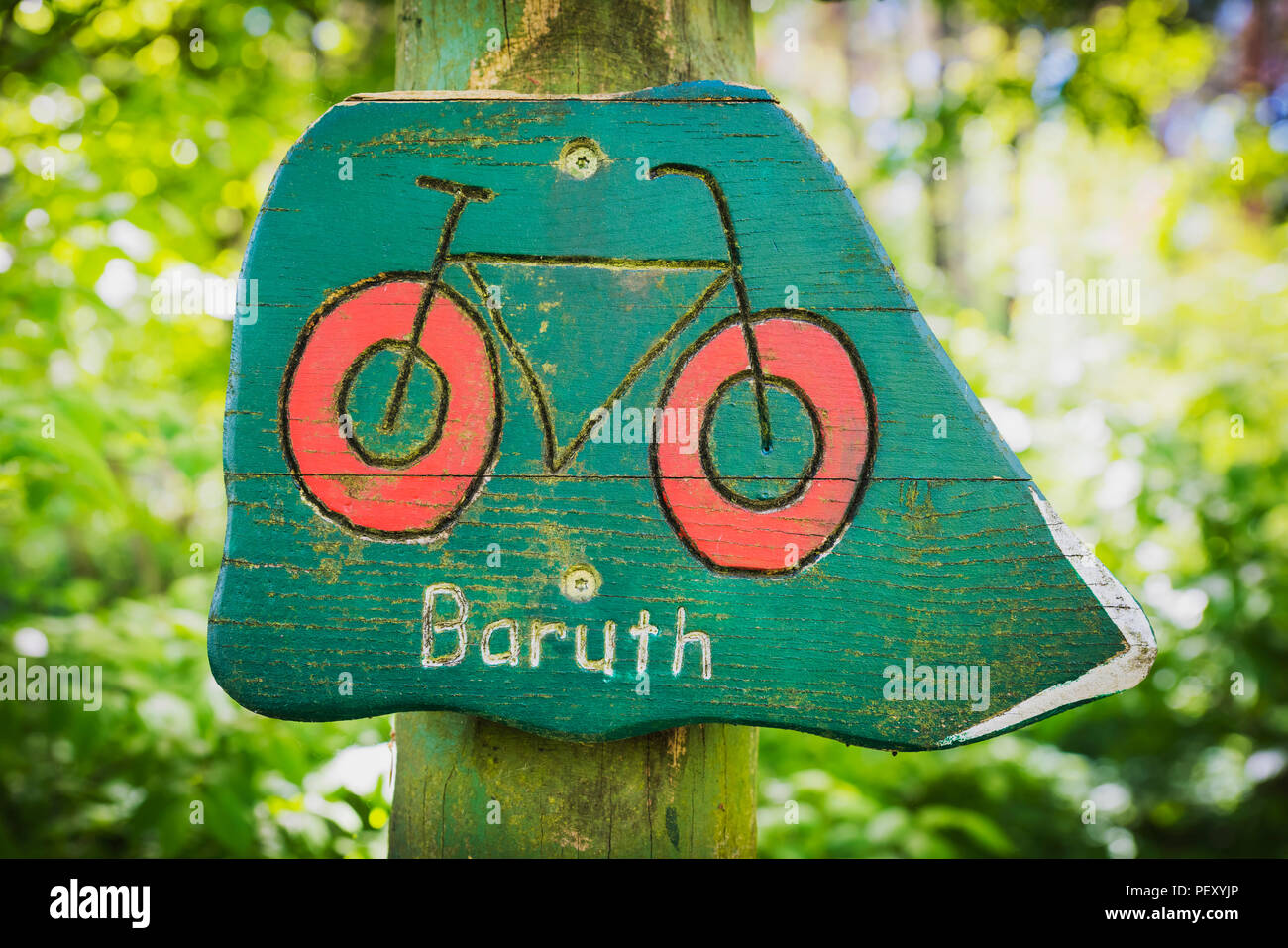 Signpost for the bicycle path to Baruth/Mark, district of Teltow-Flaeming, Brandenburg, Germany, Europe - Stock Image