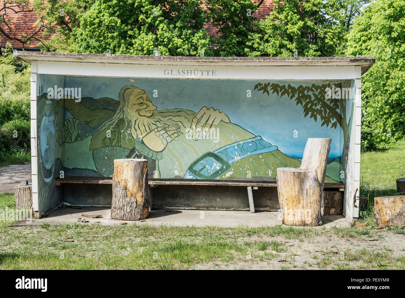 Bus stop shelter in Glashuette, city Baruth / Mark, district Teltow-Flaeming, Brandenburg, Germany, Europe Stock Photo