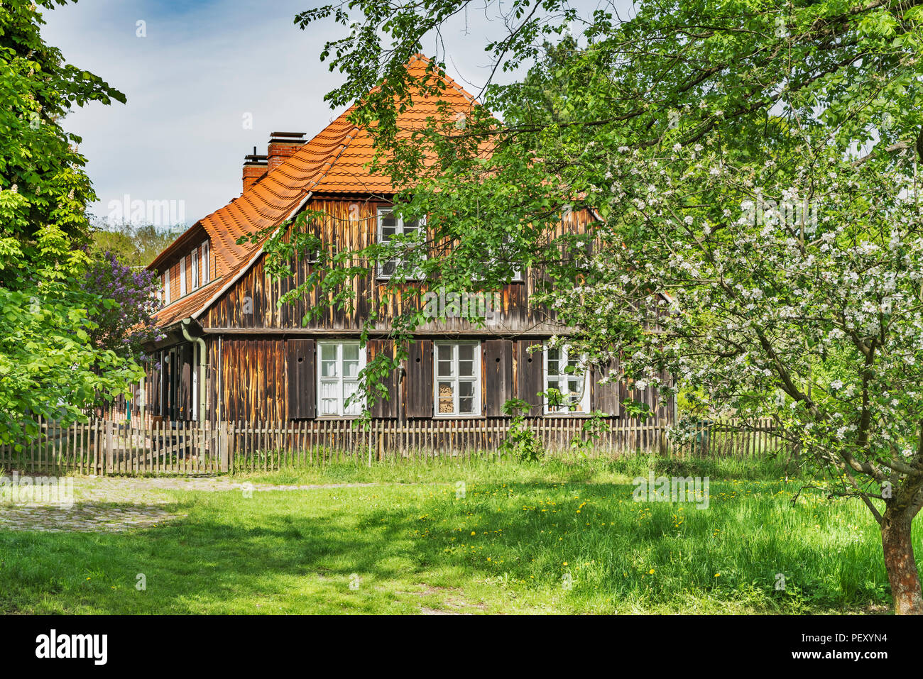 Old House in the museum village Baruther Glashuette. Glashuette is located in the city Baruth / Mark, district Teltow-Flaeming, Brandenburg, Germany - Stock Image