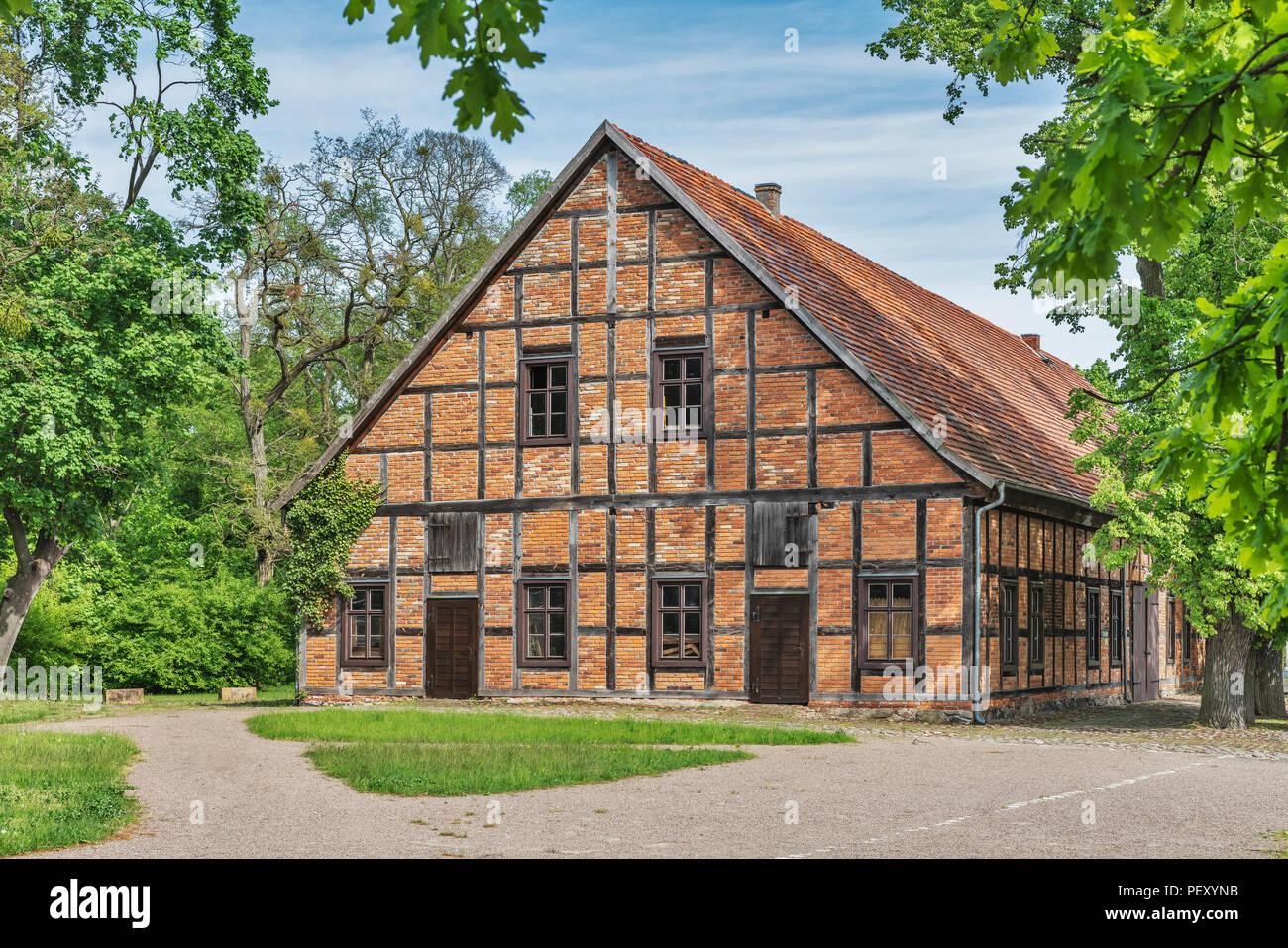 Old Glashuette building in the museum village Baruther Glashuette, Baruth/Mark, Brandenburg, Germany - Stock Image