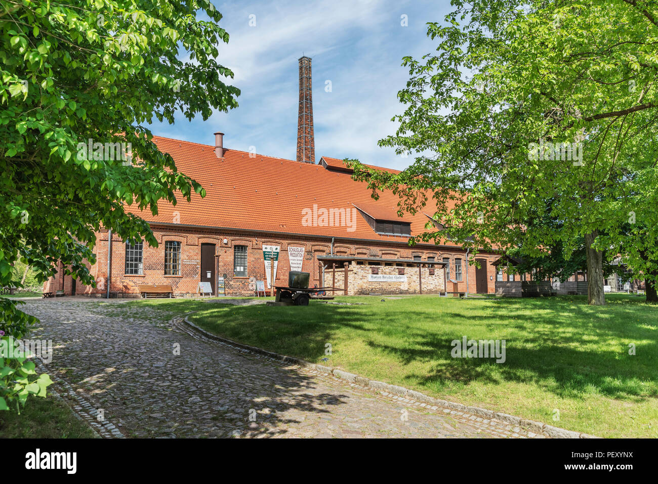 New Glashuette building in the museum village Baruther Glashuette, Baruth / Mark, district Teltow-Flaeming, Brandenburg, Germany, Europe - Stock Image