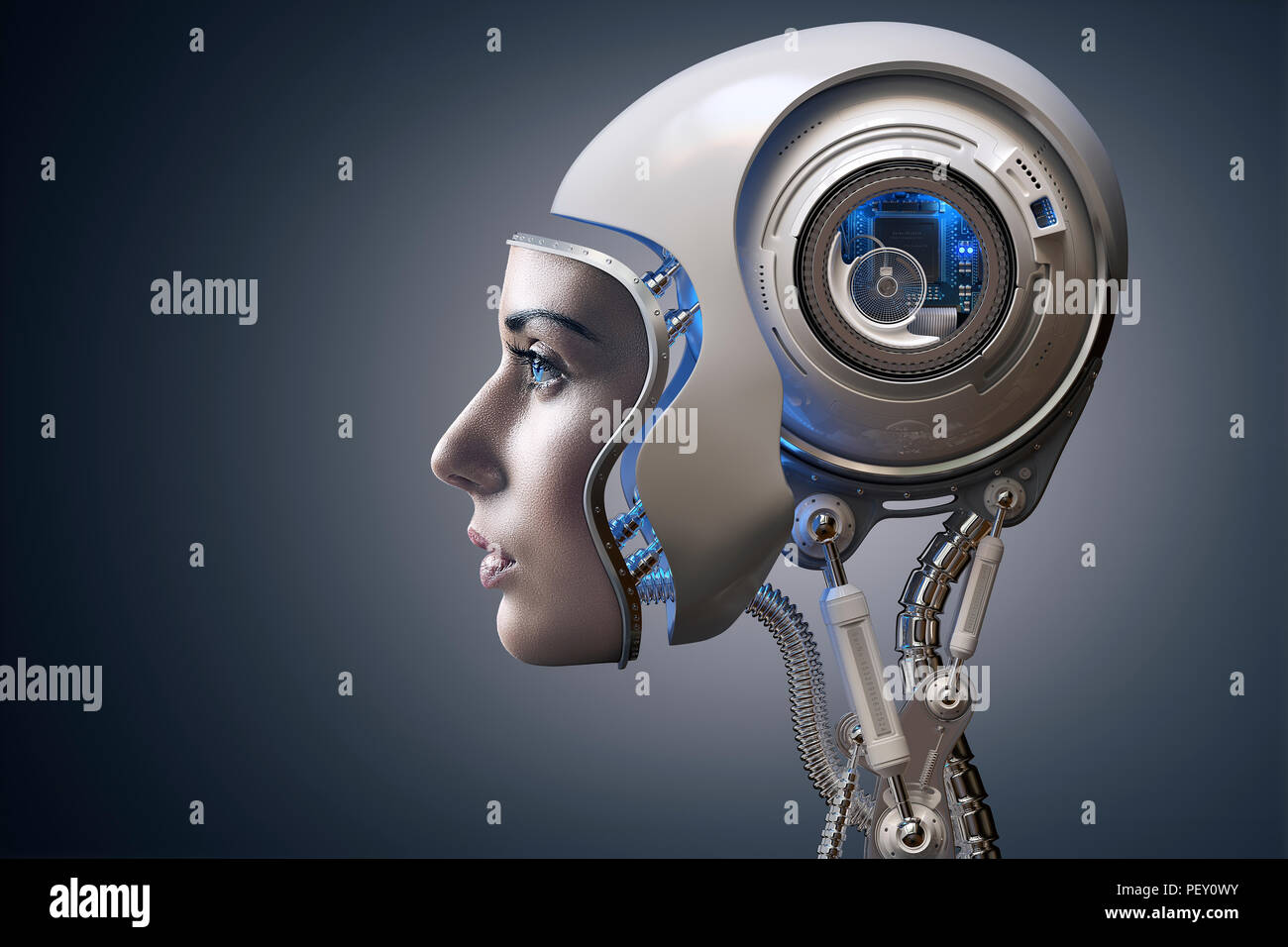 Cyborg illustrated with the face of a real young woman combined with a 3D rendered robot head. Conceptual of futuristic bionics and artificial intelli - Stock Image