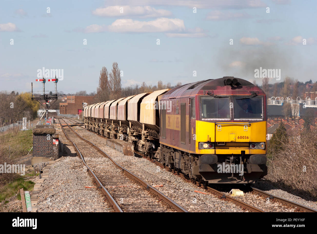 A Class 60 Diesel Locomotive Number 60036 Working Train Of Stone Hopper Wagons Approaches South Greenford In West London