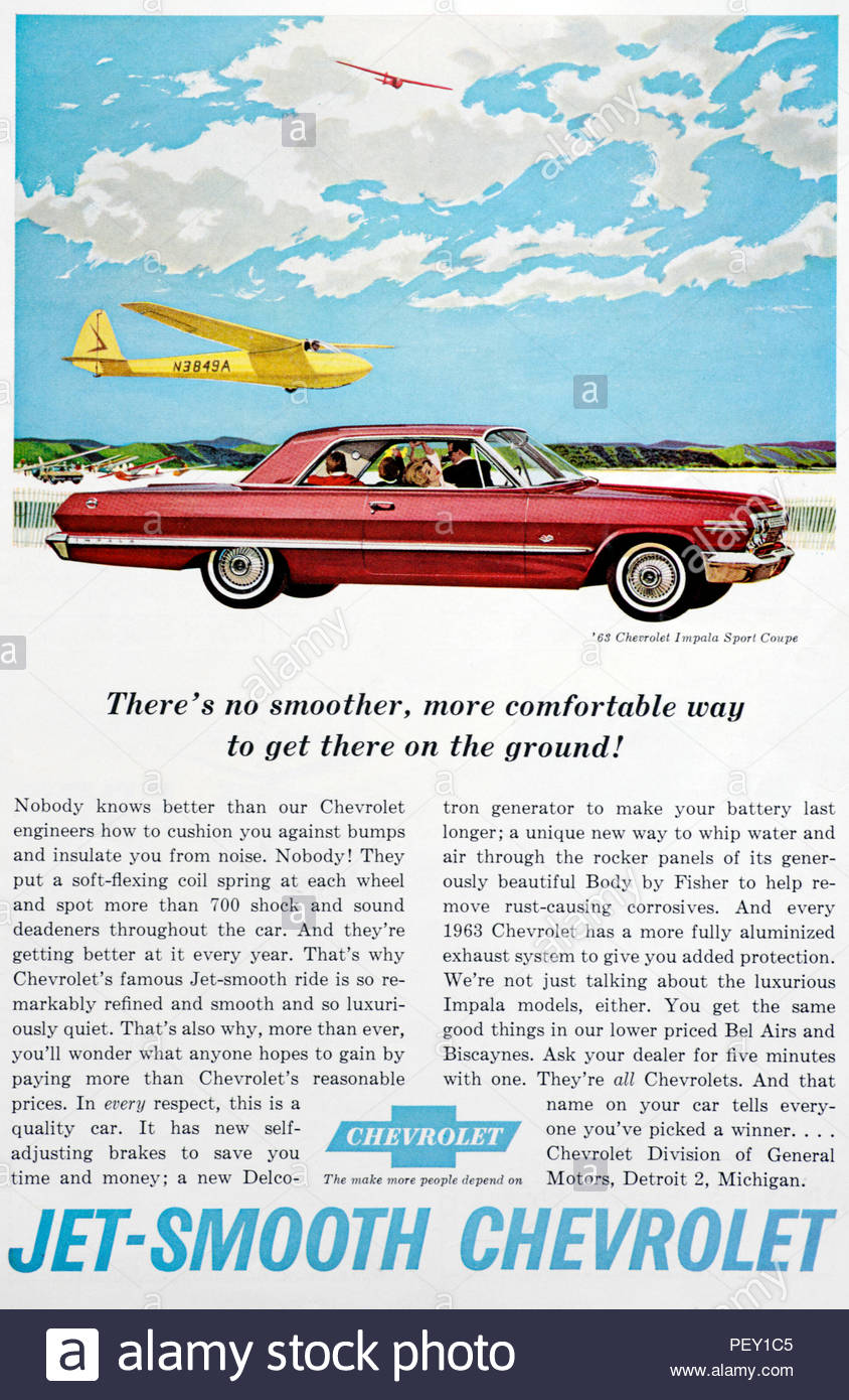 Vintage advertising for the Chevrolet Impala Sport Coupe 1963 - Stock Image