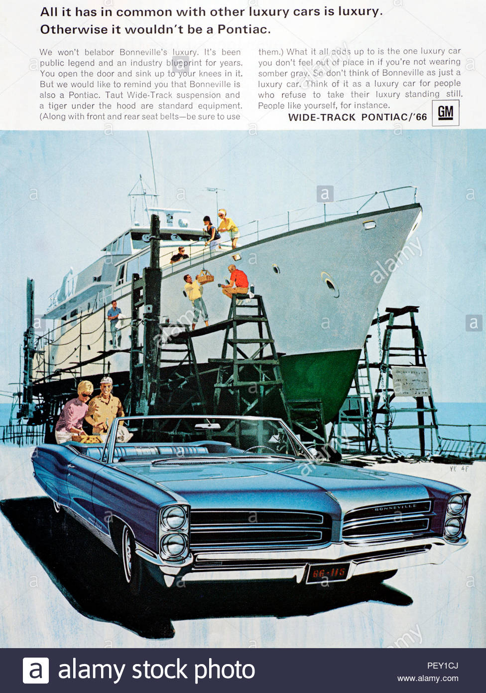 Vintage Advertising For The Pontiac Bonneville Convertible Car 1966