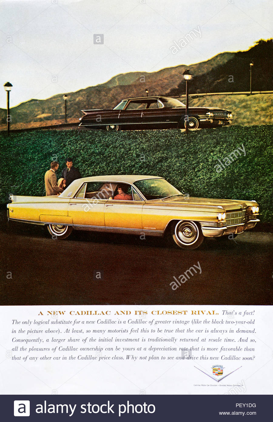 Vintage advertising for the Cadillac Car 1963 - Stock Image