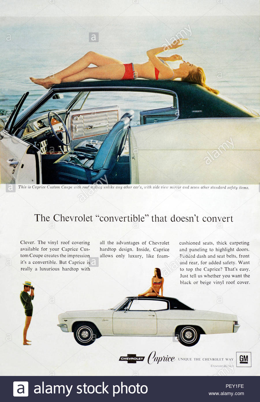 Vintage advertising for the Chevrolet Caprice Custom Coupe Car 1966 - Stock Image