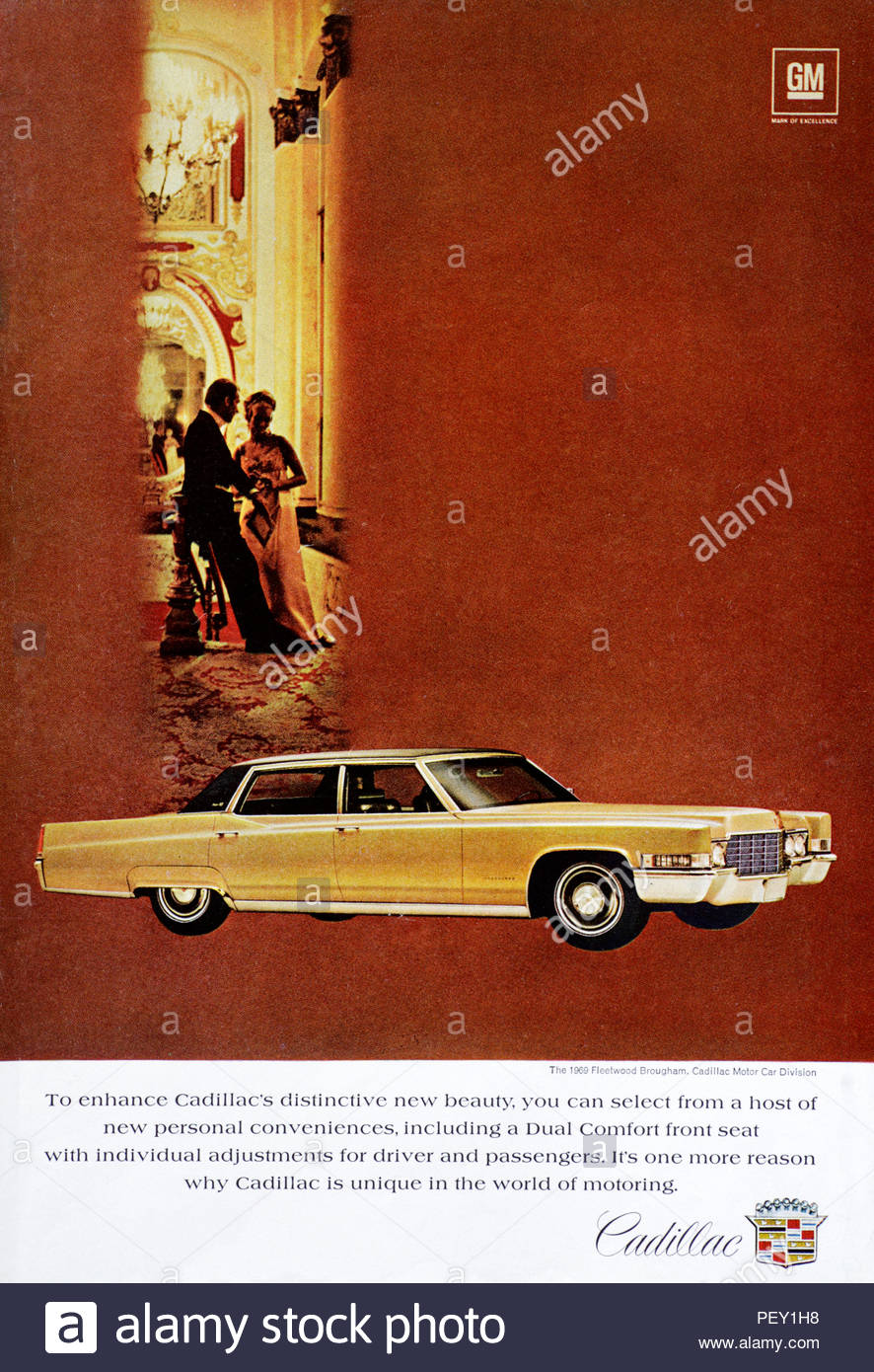 Vintage advertising for the Cadillac Fleetwood Brougham Car 1969 - Stock Image