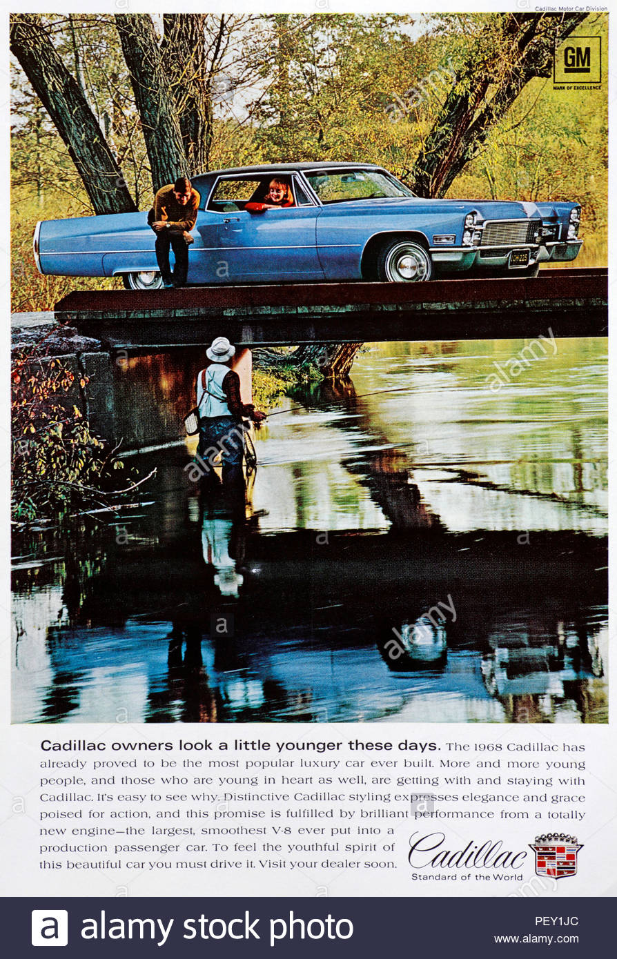 Vintage advertising for the Cadillac Car 1968 - Stock Image