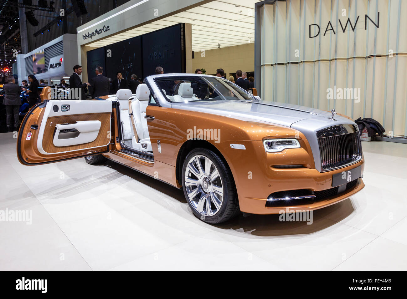 GENEVA, SWITZERLAND - MARCH 1, 2016: Rolls Royce Dawn luxury convertible car showcased at the 86th Geneva International Motor Show. - Stock Image