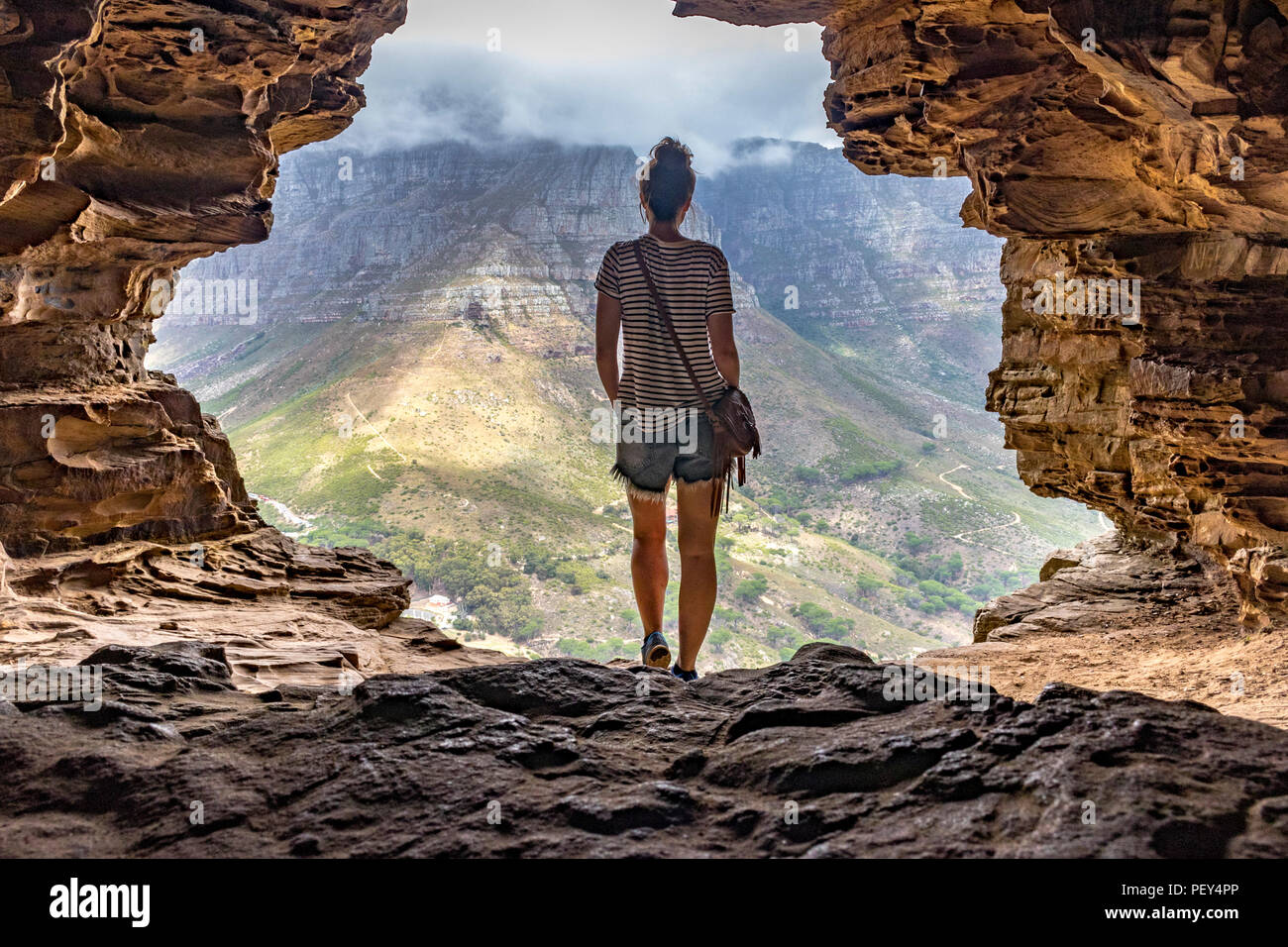 Wallys Cave Lions Head Cape Town Höhle Kapstadt - Stock Image