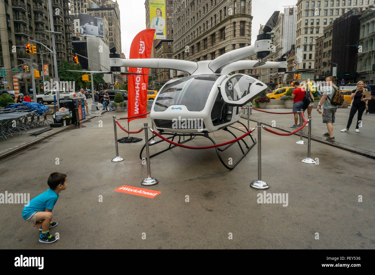 A Workhorse SureFly electric helicopter on display at a
