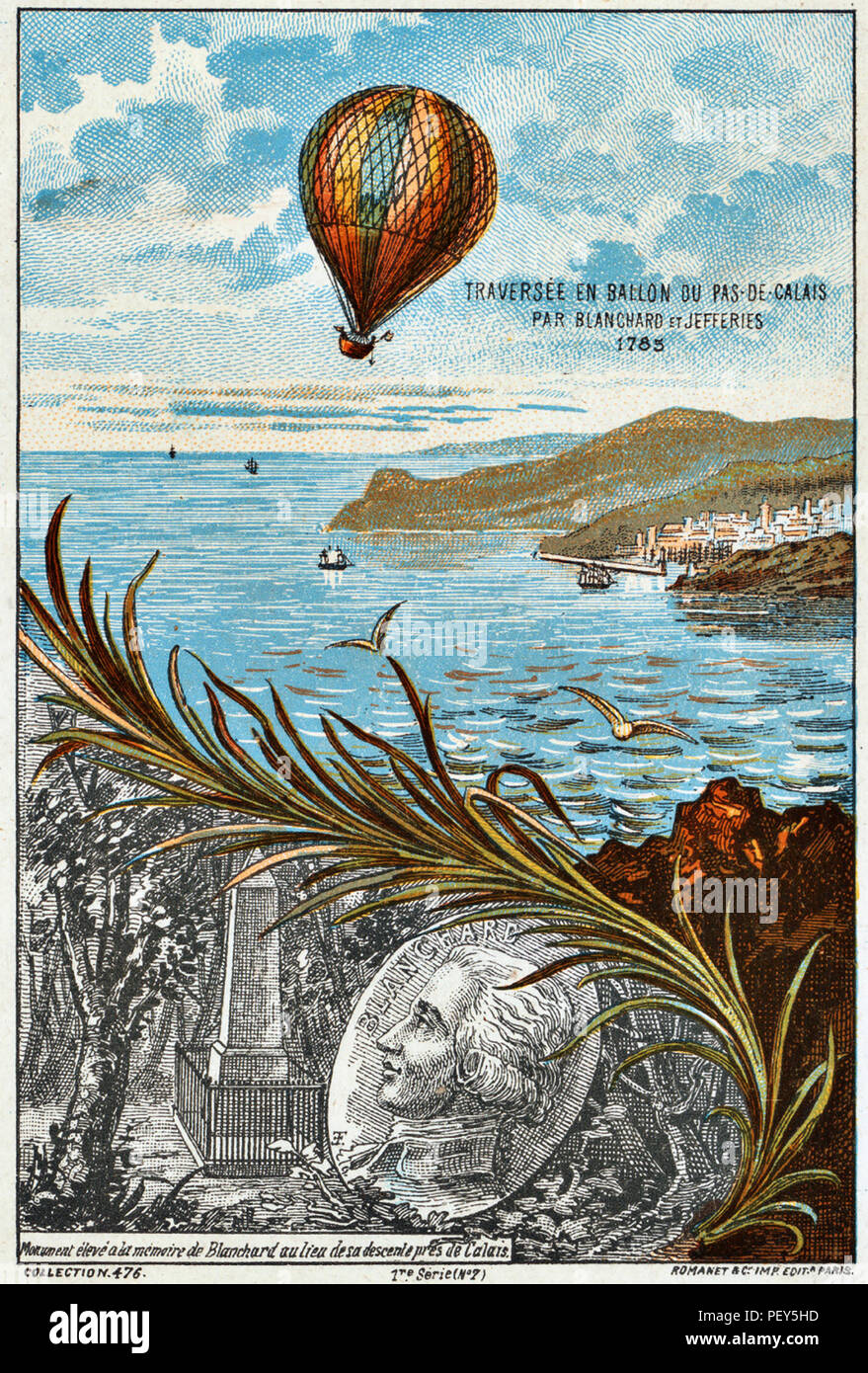 JEAN-PIERRE BLANCHARD a French balloonist and an American John Jeffries crossing the English Channel on 7 January 1785 as shown on a French postcard. Stock Photo