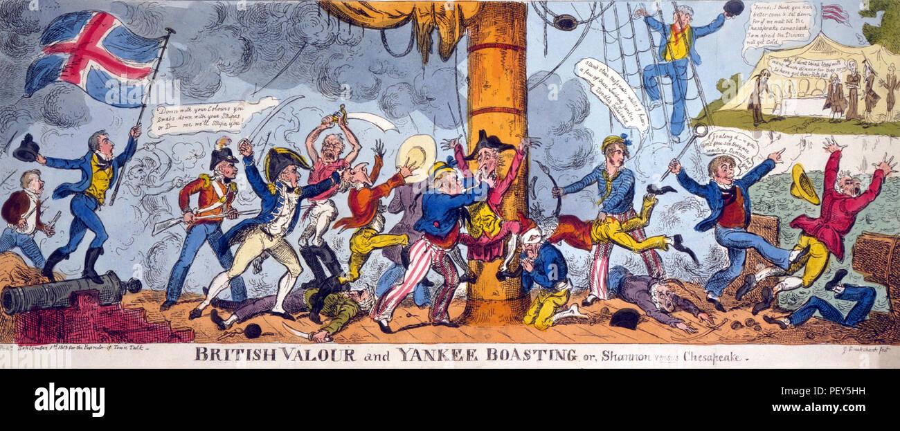 GEORGE CRUIKSHANK (1792-1878) English caricaturist. 'British valour and Yankee Boasting' from 1813 - Stock Image