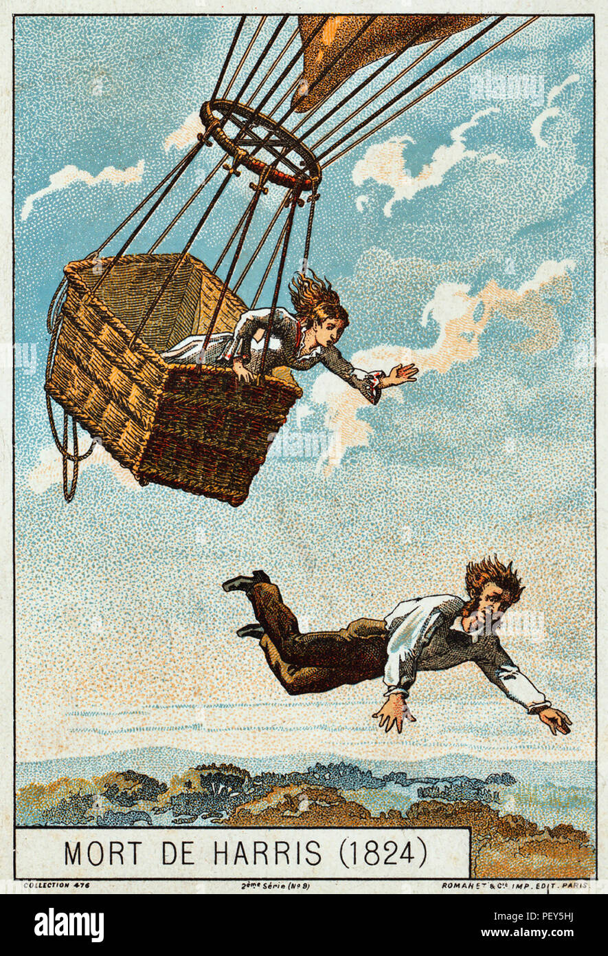 THOMAS HARRIS (?-1824) English balloonist dies while flying the balloon Royal George 25 May 1824 from Vauxhall,London. In fact he was killed in the crash landing accompanied by Sophia Stocks who survived. Part of a French collecting card series published 1890-1900 - Stock Image