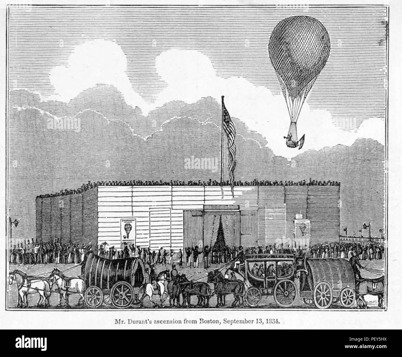 CHARLES FERSON DURANT American balloonist launches from Boston on 13 September 1834 - Stock Image
