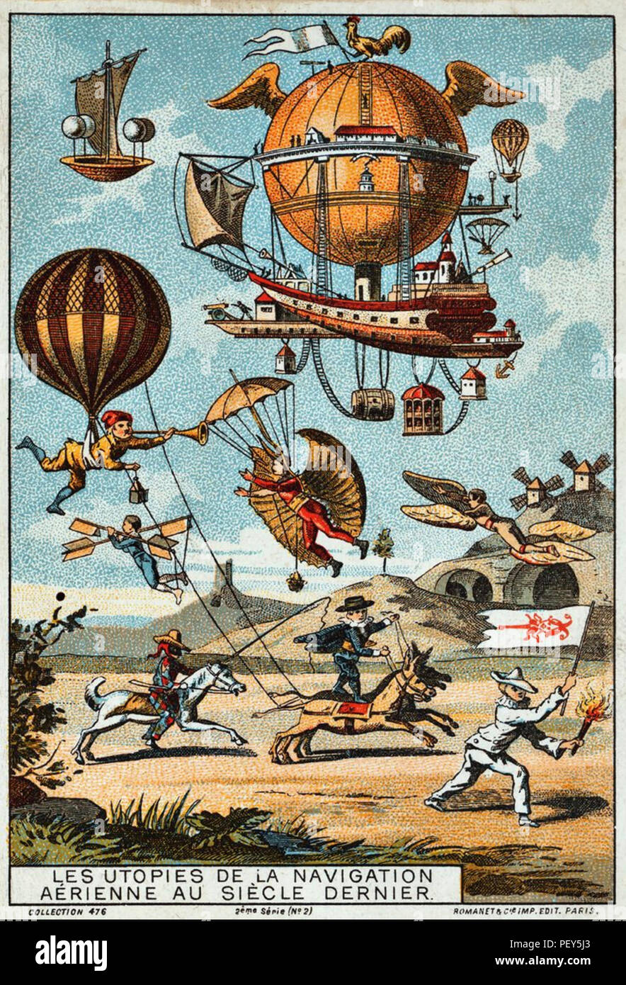 EARLY FLIGHT One of a series of French collecting cards published between 1890 and 1900 - Stock Image