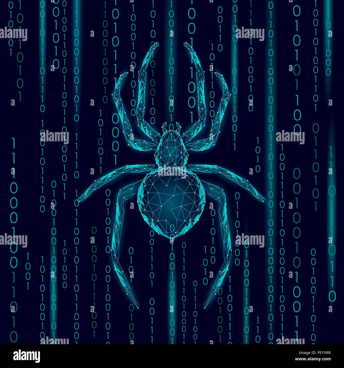 Low poly spider hacker attack danger. Web security virus data safety antivirus concept. Polygonal modern design business concept. Cyber crime web insect bug technology vector illustration - Stock Image