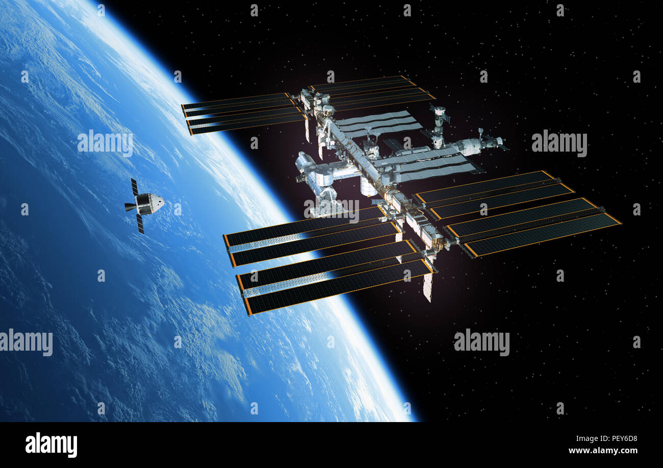 Spaceship Is Preparing To Dock With International Space Station. 3D Illustration. - Stock Image
