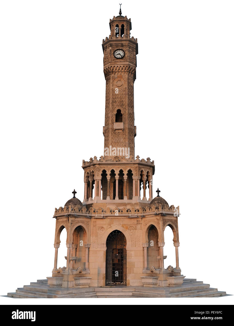 izmir clock tower isolated with white background - Stock Image
