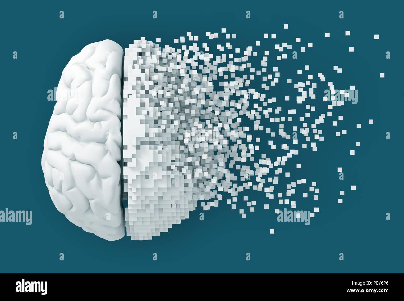 Desintegration Of Digital Brain On Blue Background. 3D Illustration. - Stock Image