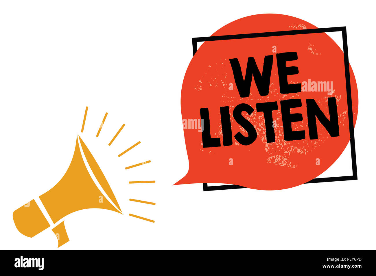 Writing note showing We Listen. Business photo showcasing Group of people that is willing to hear anything you want to say Megaphone loudspeaker speak - Stock Image