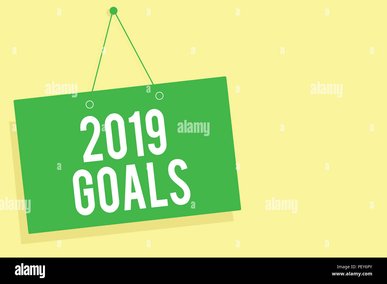 Word writing text 2019 Goals. Business concept for A plan to do for something new and better for the coming year Green board wall message communicatio - Stock Image