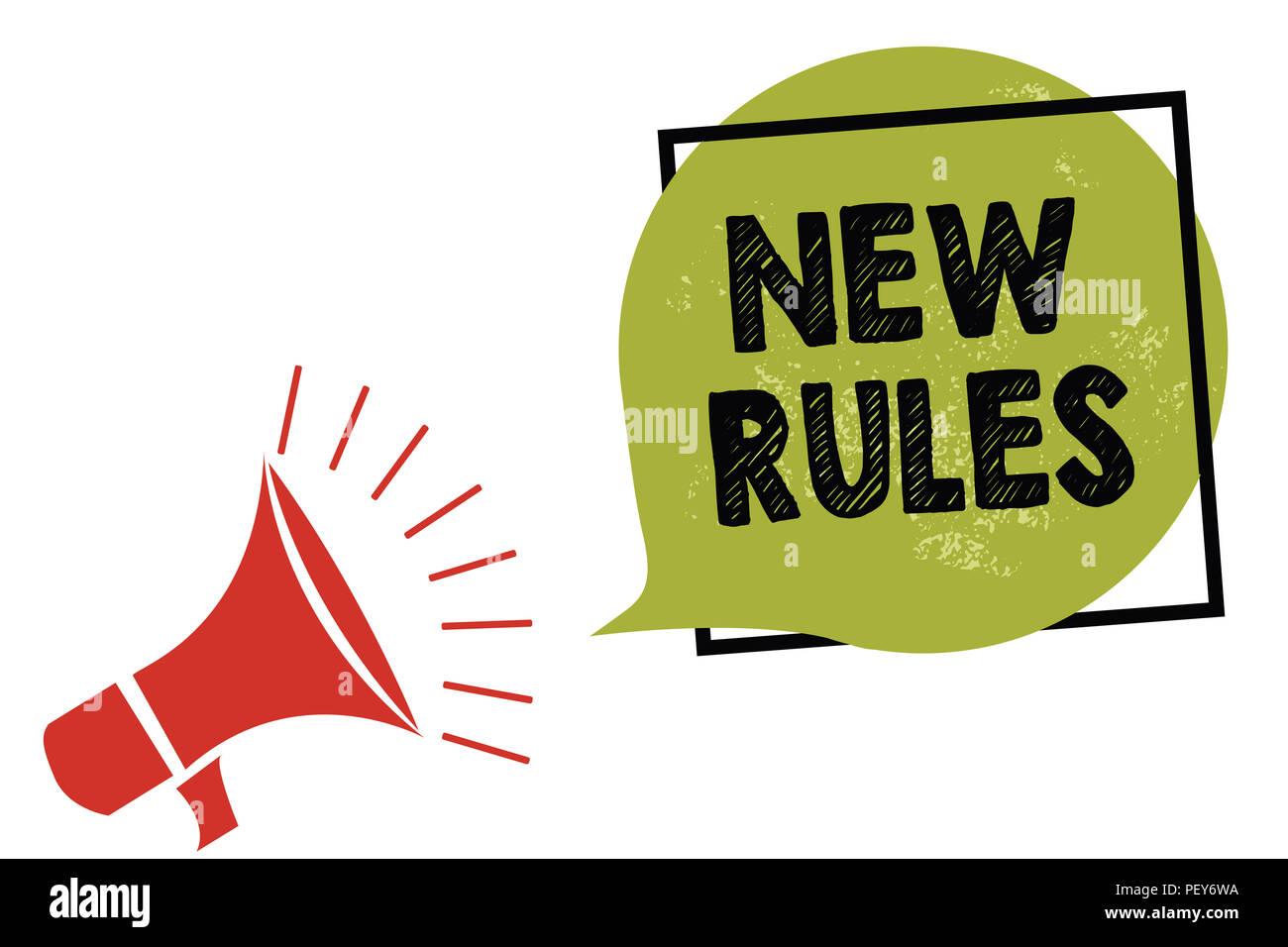 Text sign showing New Rules. Conceptual photo A state of changing an iplemented policy for better upgrade Megaphone loudspeaker speaking loud screamin - Stock Image