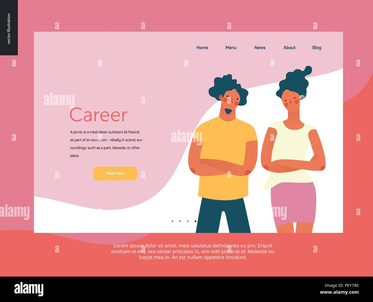 Bright people - website template Career in the the company. Flat style vector doodle illustration of serious young man and a young woman standing stan - Stock Vector