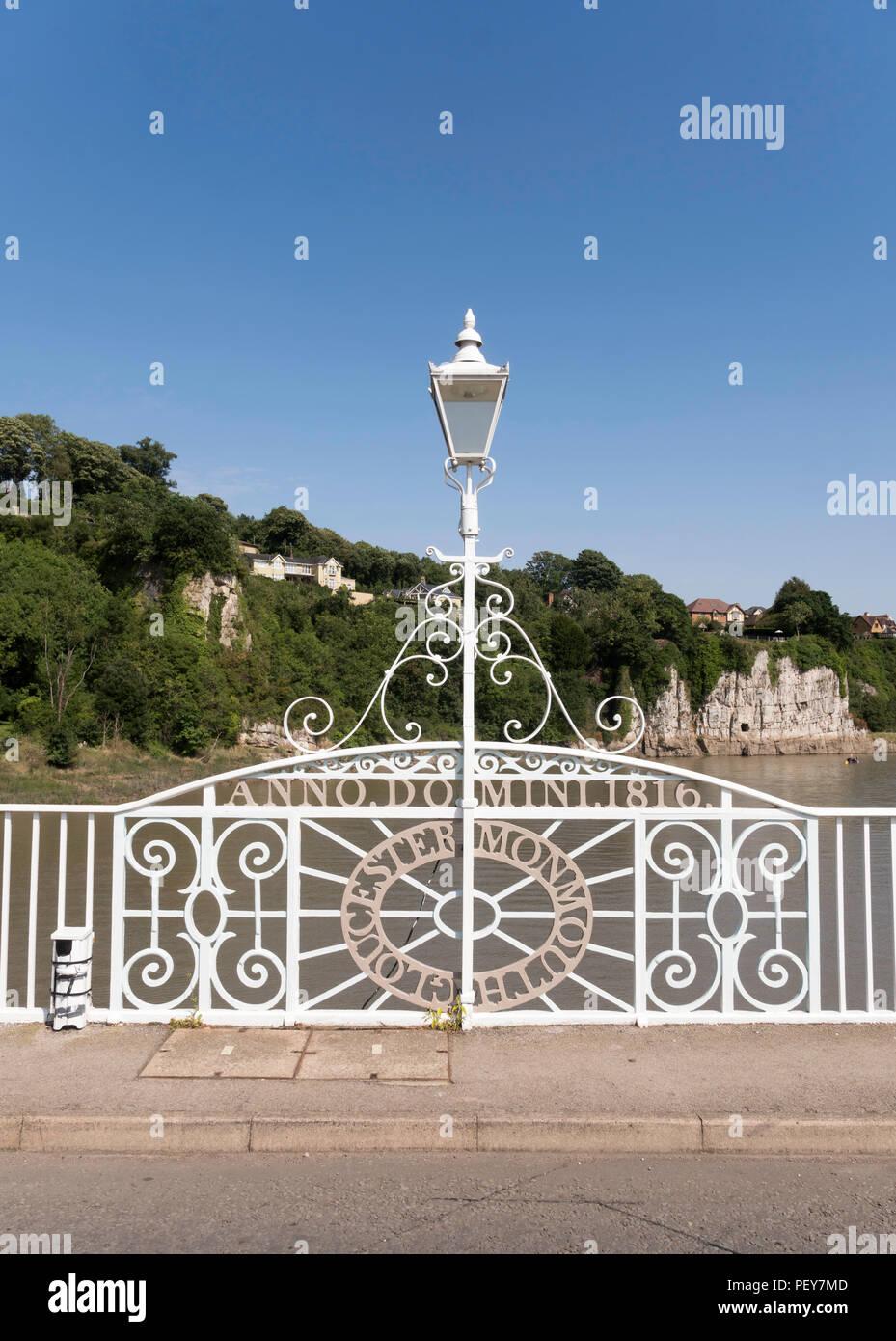 Lamp post on the old Wye Bridge marking English Welsh border, Chepstow, Monmouthshire, Wales, UK Stock Photo