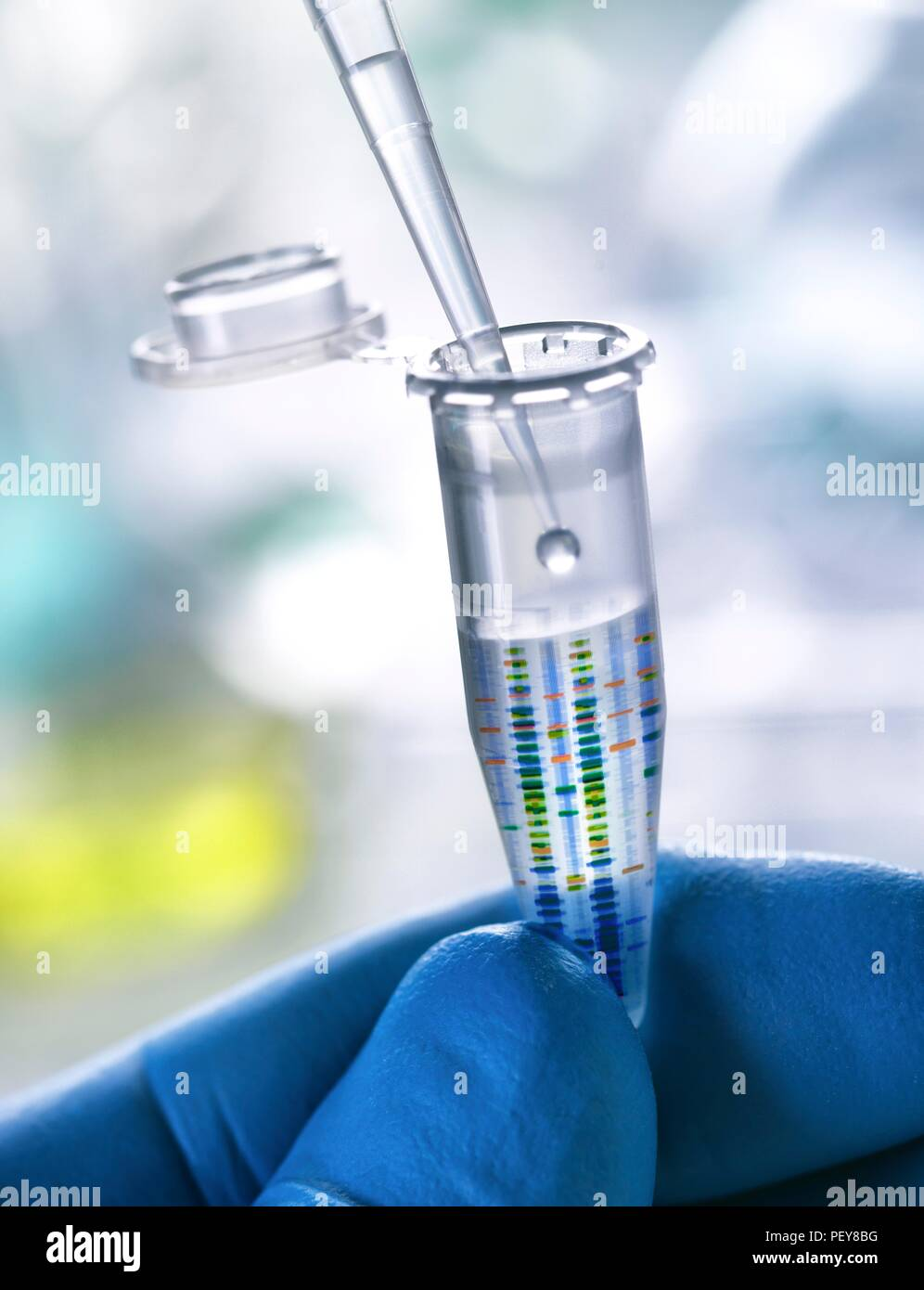 Composite image of DNA (deoxyribonucleic acid) test results on an Eppendorf tube containing a DNA sample. Stock Photo