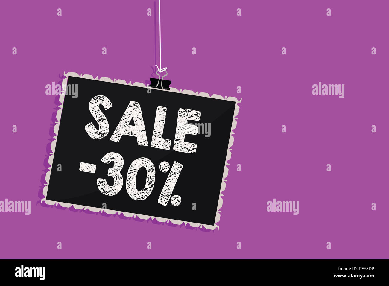 Text sign showing Sale 30. Conceptual photo A promo price of an item at 30 percent markdown Hanging blackboard message communication information sign  - Stock Image