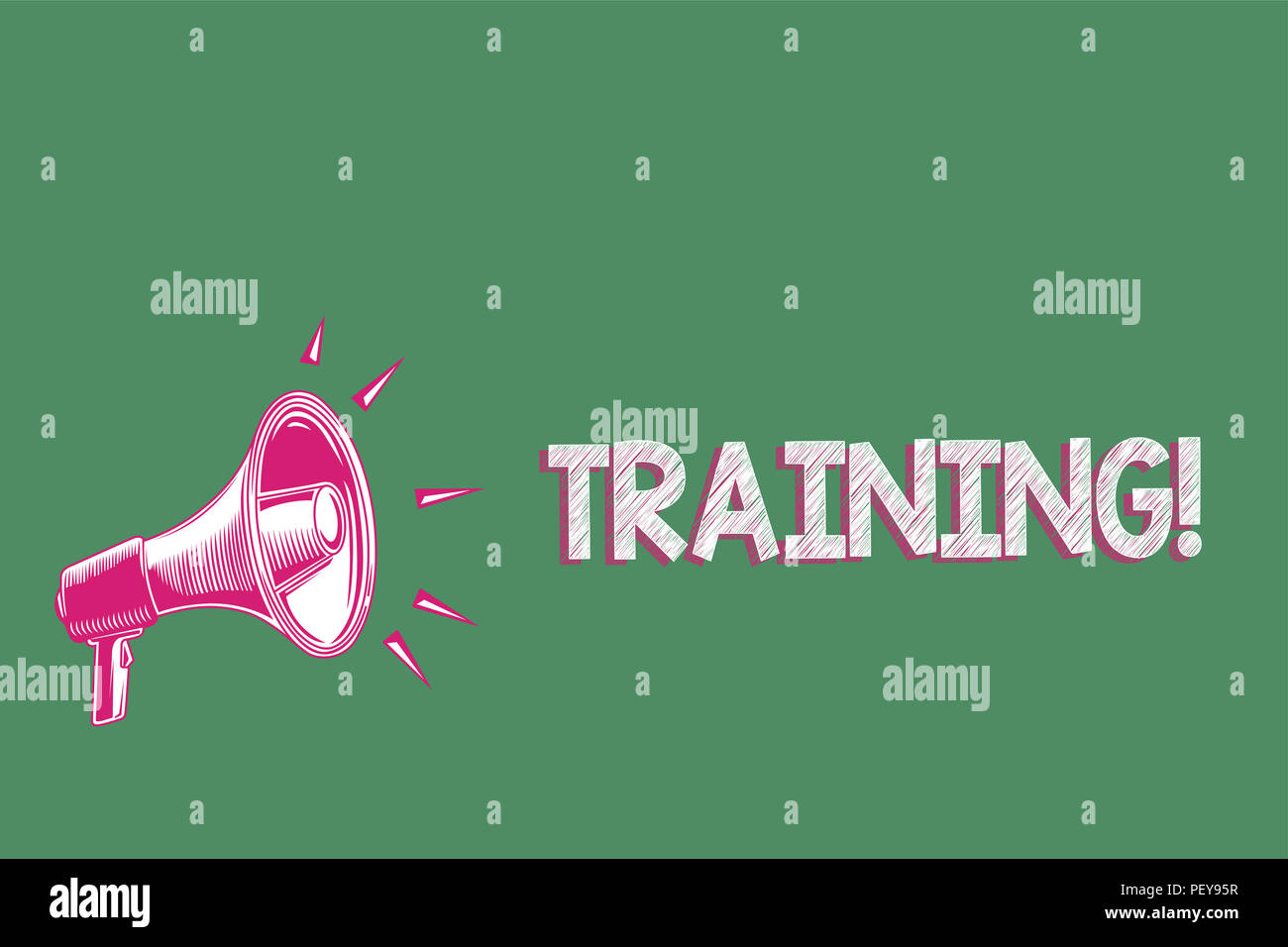 Handwriting text writing Training. Concept meaning An activity occurred when starting a new job project or work Megaphone loudspeaker green background - Stock Image