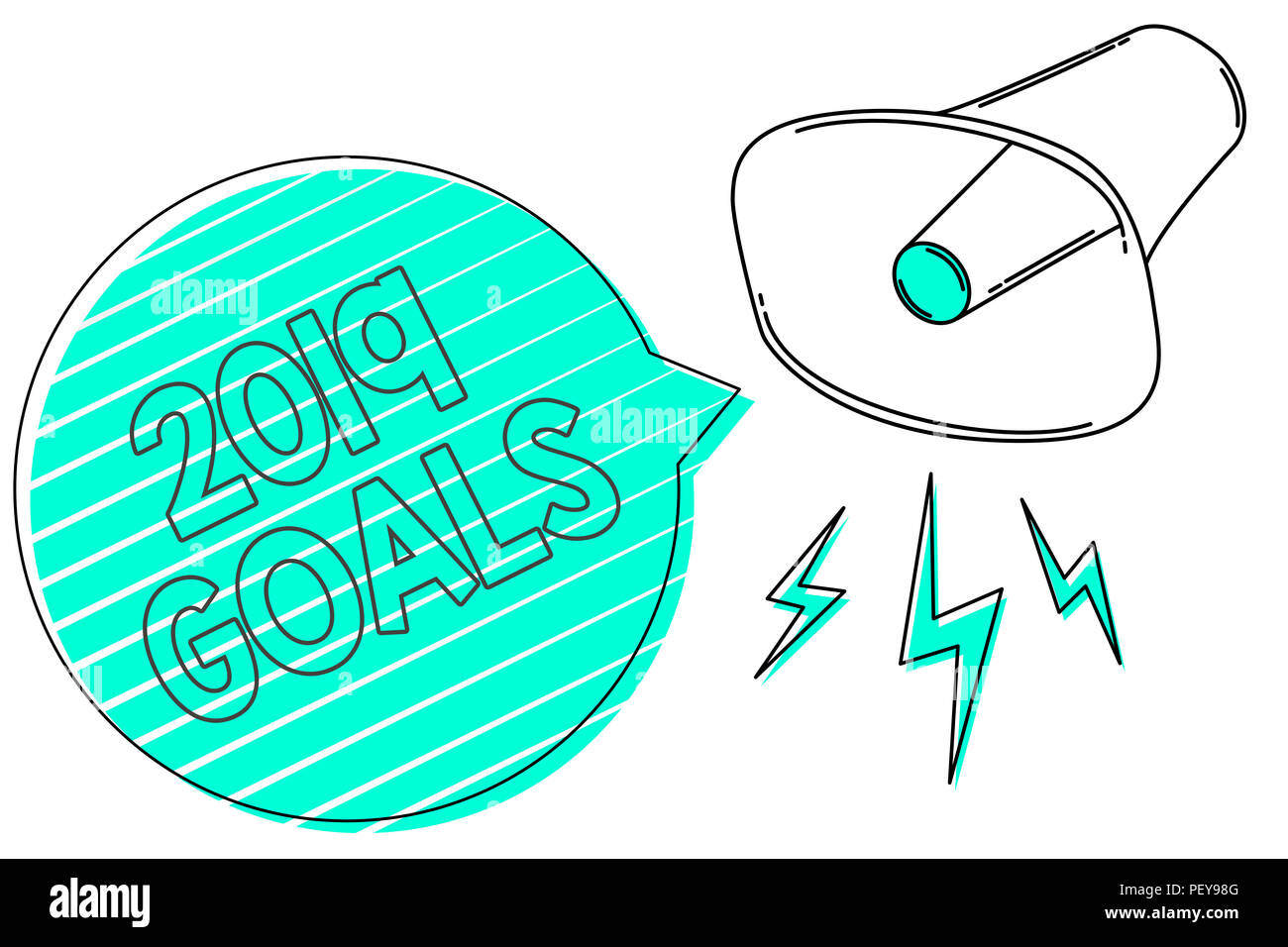 Handwriting text 2019 Goals. Concept meaning A plan to do for something new and better for the coming year Megaphone loudspeaker green speech bubble s - Stock Image