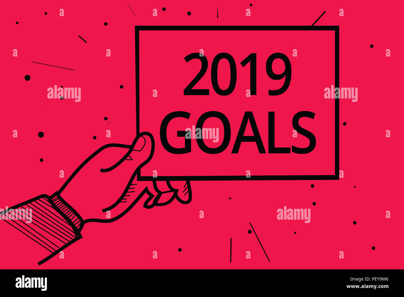 Conceptual hand writing showing 2019 Goals. Business photo text A plan to do for something new and better for the coming year Man holding paper commun - Stock Image